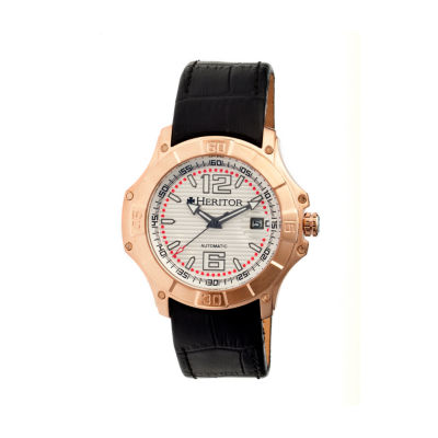 Heritor Automatic Norton Mens Leather Magnified Date-Rose Gold/Silver Watches