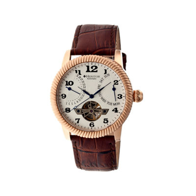 Heritor Automatic Piccard Mens Semi-Skeleton Leather Date-Rose Gold/Silver Watches