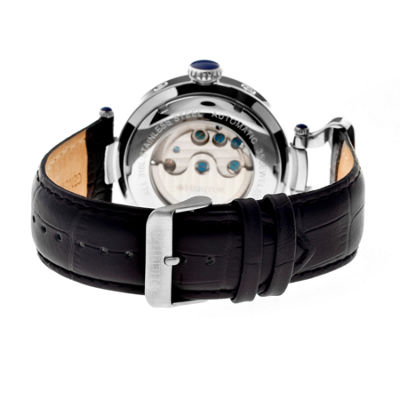 Heritor Automatic Ganzi Mens Leather Day&Date-Silver Watches