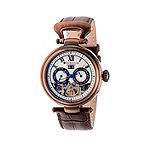 Heritor Automatic Ganzi Mens Leather Day&Date-Bronze/Silver Watches
