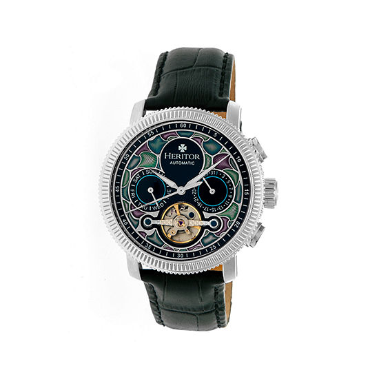 Heritor Automatic Aura Mens Vitreous Enamel Dial Leather-Silver Watches