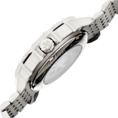 Heritor Automatic Carter Mens Skeleton Dial Bracelet Watch-Silver Tone/Black Watch