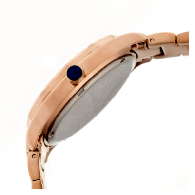 Bertha Womens Jaclyn Mother-Of-Pearl Silver Dial Rose Gold Bracelet Swiss Watchbthbr4805