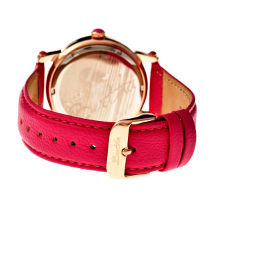 Bertha Womens Chelsea Mother-Of-Pearl Hot Pink Leather-Band Watchbthbr4904