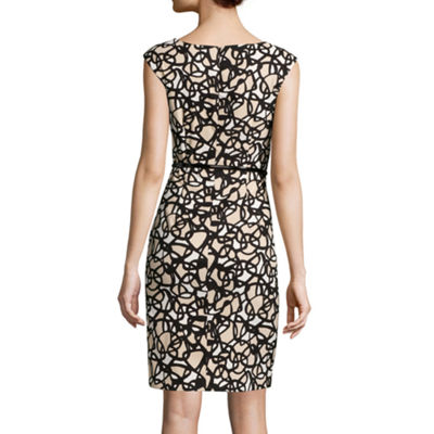 Alyx® Sleeveless Printed Splice Belted Sheath Dress