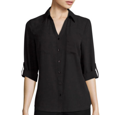 by&by 3/4-Sleeve Button-Front Solid Shirt
