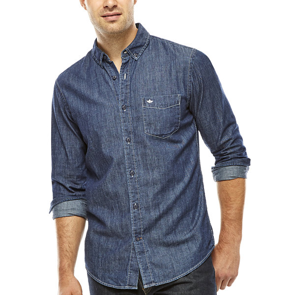 Dockers long sleeve chambray sp15 fashion button front top for Chambray long sleeve shirt
