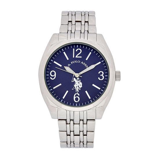 U.S. Polo Assn. Mens Silver Tone Bracelet Watch-Usc80486