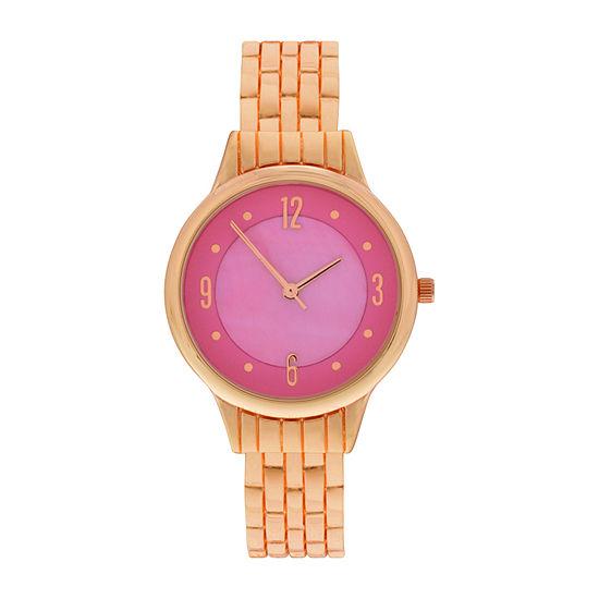 Mixit Womens Rose Goldtone Bangle Watch Wac4411jc