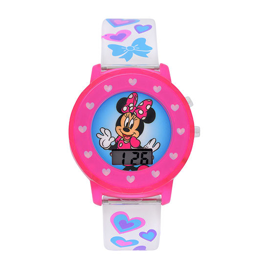 Disney Minnie Mouse Girls Digital White Strap Watch-Mnh4018jc