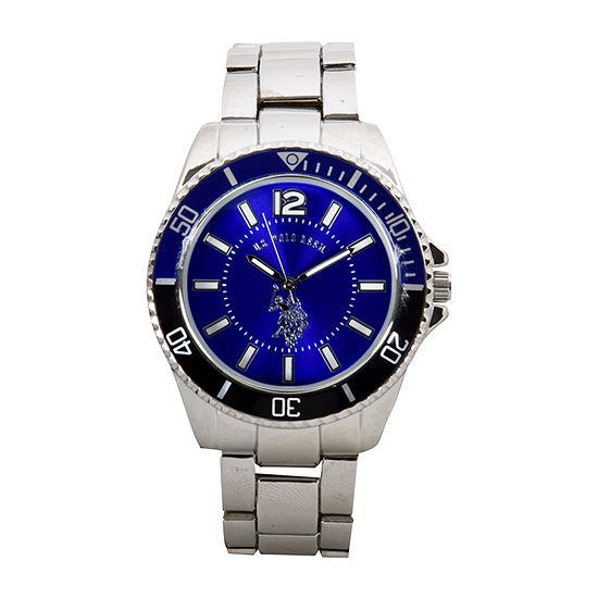 U.S. Polo Assn. Mens Silver Tone Bracelet Watch-Usc80436jc