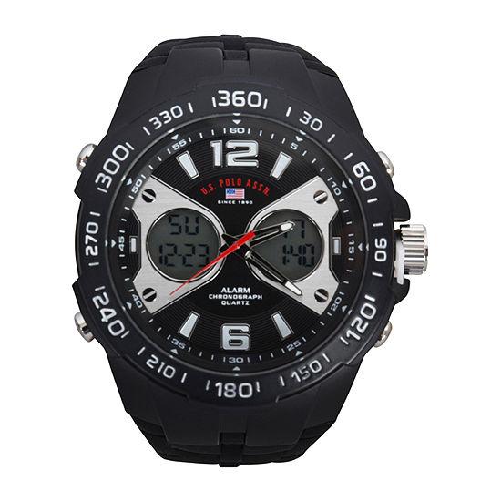 Us Polo Assn. Uspolo Mens Black Strap Watch-Us9625jc