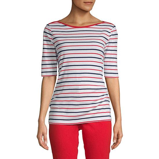 St. John's Bay-Womens Boat Neck Elbow Sleeve T-Shirt