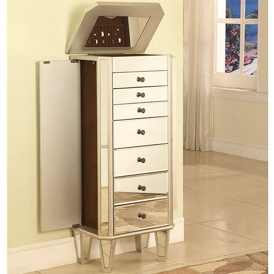 Mirrored Jewelry Armoire with Silver-Tone Wood
