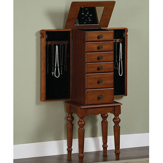Shabby Chic Distressed Cherry-Finish Jewelry Armoire