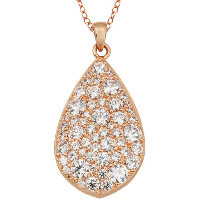 Rose Gold Brass Cubic Zirconic Teardrop Pendant Necklace