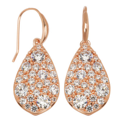 Rose-Tone Cubic Zirconia Earrings