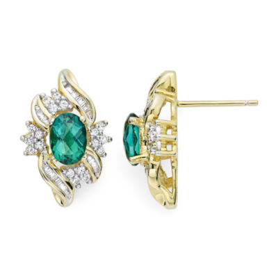 Lab-Created Emerald and White Sapphire Cluster Earrings