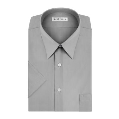 Van Heusen Easy-Care Poplin - Big & Tall Short Sleeve Dobby Dress Shirt - Tall