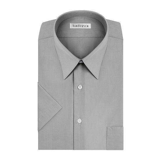 Van Heusen Easy-Care Poplin - Big & Tall Mens Point Collar Short Sleeve Dress Shirt - Tall