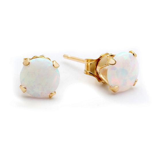 10k Gold Lab Created Opal 6mm Earrings