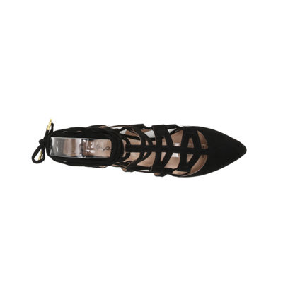 Qupid Pointer Lace-Up Ballerina Flats
