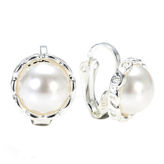 Gloria Vanderbilt® Simulated Pearl and Silver-Tone Earrings