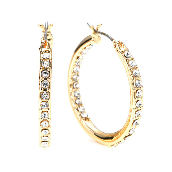 Gloria Vanderbilt Large Gold Tone Pave Hoop Earrings