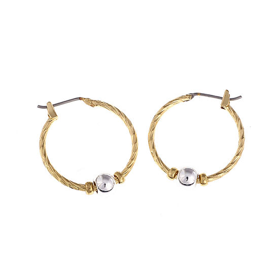 Gloria Vanderbilt® Two-Tone Single Bead Hoop Earrings