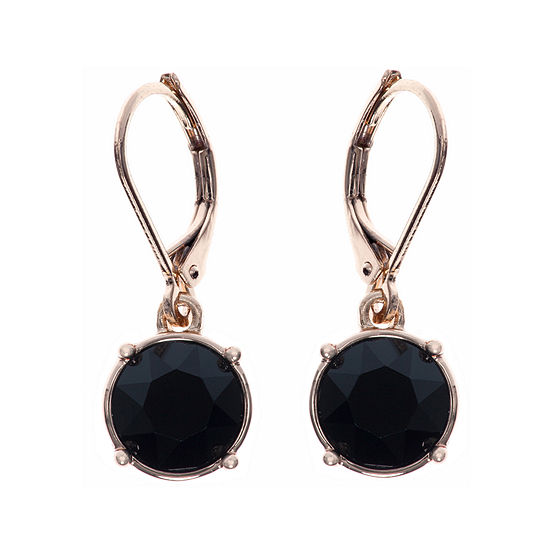Gloria Vanderbilt Gold Tone Jet Black Crystal Drop Earrings