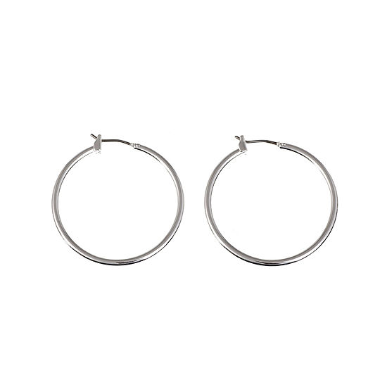 Gloria Vanderbilt® Large Silver-Tone Hoop Earrings
