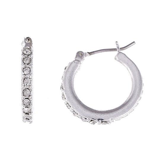 Gloria Vanderbilt® Silver-Tone Pave Small Hoop Earrings