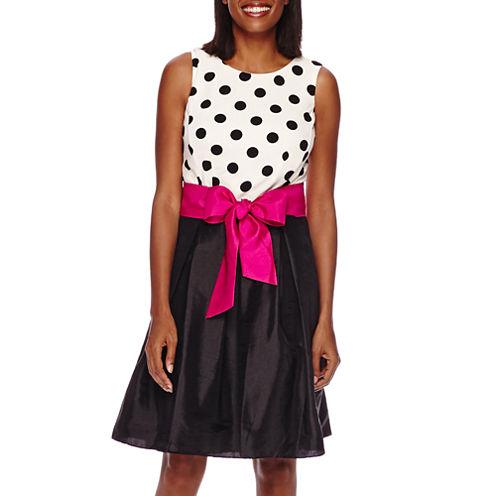 R&K Originals® Sleeveless Polka Dot Pleated Party Dress