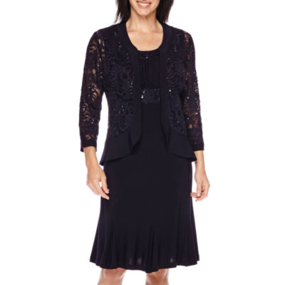 R&M Richards Ruffle Trim Lace Jacket Dress