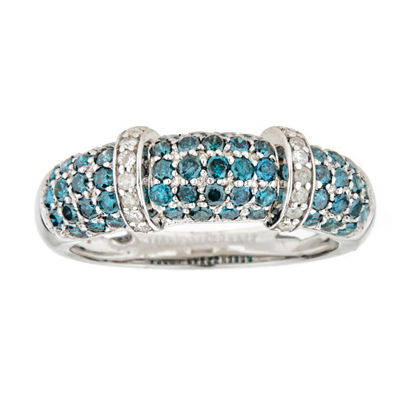 LIMITED QUANTITIES 7/8 CT. T.W. Color Enhanced Blue & White Diamond Sterling Silver Ring