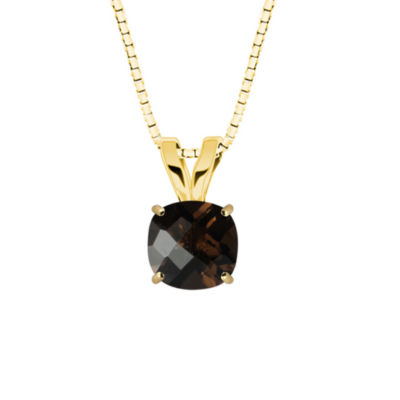 Genuine Smoky Quartz 10K Yellow Gold Pendant Necklace