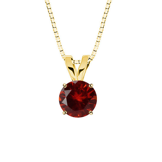 Lab-Created Round Ruby 10K Yellow Gold Pendant Necklace