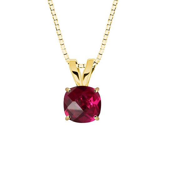 Lab-Created Ruby 10K Yellow Gold Pendant Necklace