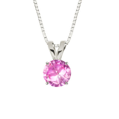 Lab-Created Round Pink Sapphire 10K White Gold Pendant Necklace