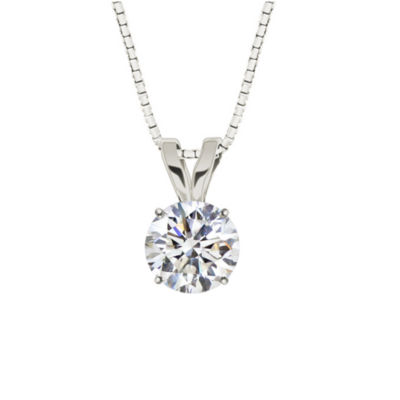 Lab-Created Round White Sapphire 10K White Gold Pendant Necklace