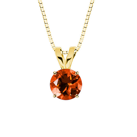Lab Created Round Padparadscha Sapphire 10k Yellow Gold Pendant Necklace