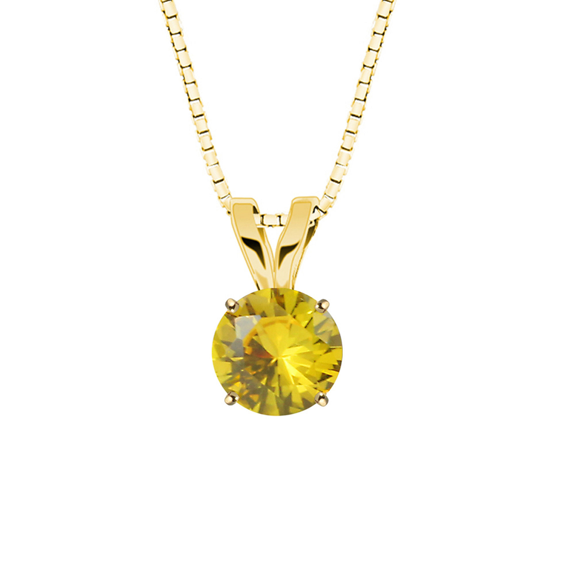 Lab-Created Round Yellow Sapphire 10K Yellow Gold Pendant Necklace