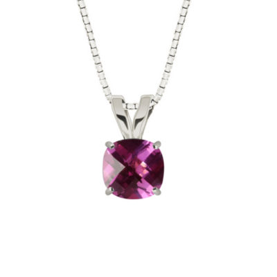 Lab-Created Checkerboard Pink Sapphire Sterling Silver Pendant Necklace