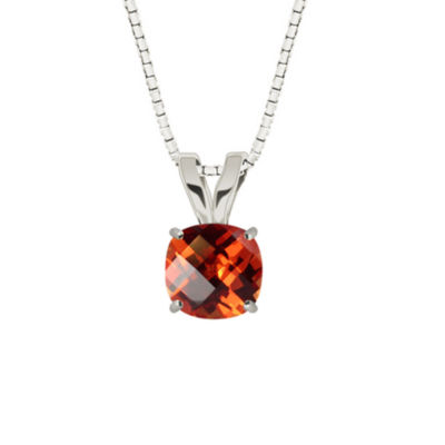 Lab-Created Checkerboard Cut Padparascha Sapphire 10K White Gold Pendant Necklace