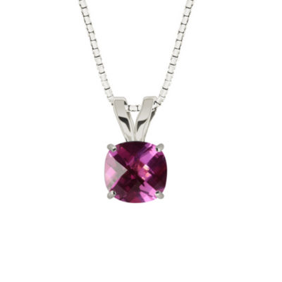 Lab-Created Checkerboard Cut Pink Sapphire 10K White Gold Pendant Necklace