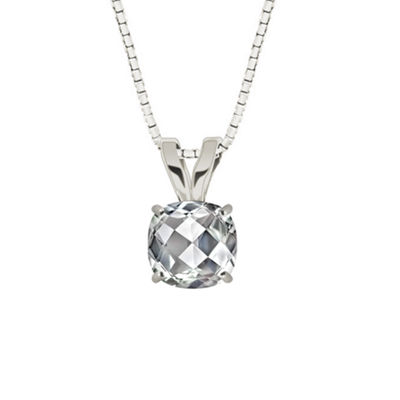 Lab-Created Checkerboard Cut White Sapphire 10K White Gold Pendant Necklace