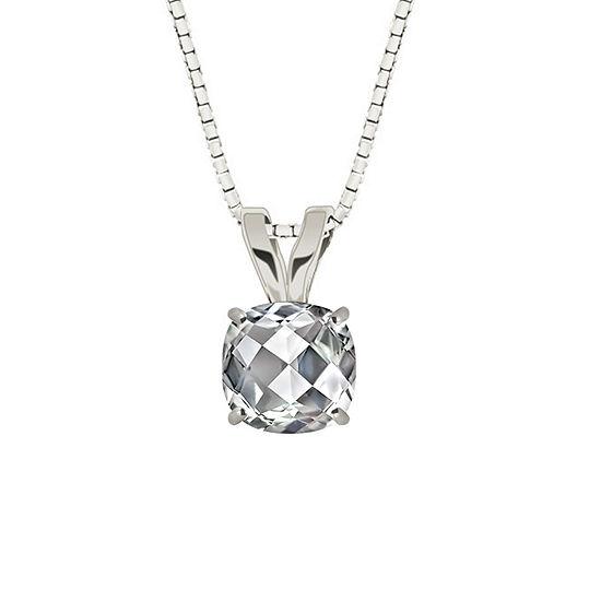 Lab-Created Checkerboard Cut White Sapphire 10K White Gold Pendant Necklace
