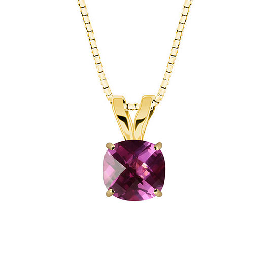 Lab-Created Checkerboard Cut Pink Sapphire 10K Yellow Gold Pendant Necklace
