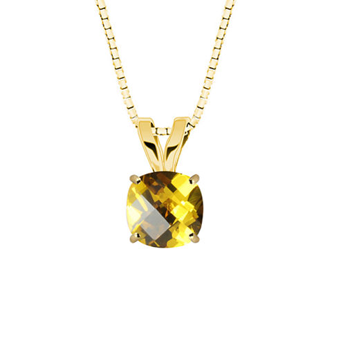 Lab-Created Checkerboard Cut Yellow Sapphire 10K Yellow Gold Pendant Necklace