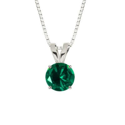 Lab-Created Round Emerald 10K White Gold Pendant Necklace